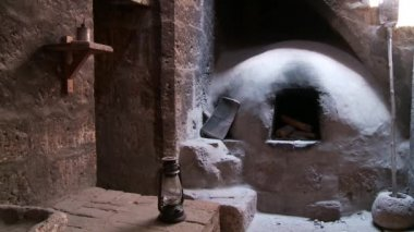 Old Kitchen, Abbey Santa Catalina — Stockvideo