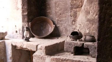 Old Kitchen, Abbey Santa Catalina — Stock Video
