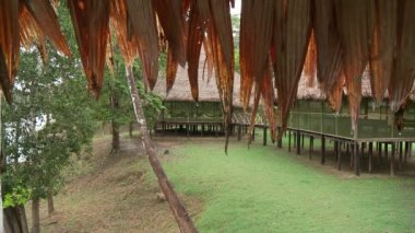 People Relaxing In Hammock In Lodge at rainforest — Stock Video