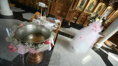 Baptismal font in greek church — Stock Video