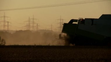 Combine harvester on grainfield — Vídeo Stock