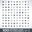 100 Universal Outline Icons For Web and Mobile — Stock Vector