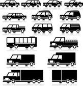 Vector Retro Vehicles Icon Set — Stock Vector