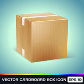 Vector Realistic Cardboard Box Icon — Stock Vector