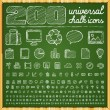200 Universal Icons in chalk doodle style — Stock Vector