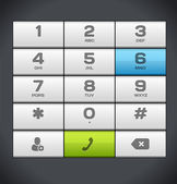 White Number Phone Keypad — Stock Vector