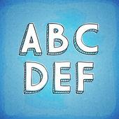 Doodle style vector alfabeto mão desenhada a f — Vetor de Stock