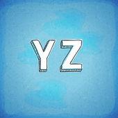 Doodle Style Vector Hand Drawn Alphabet Y-Z — Stock Vector
