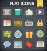 Univerzální ploché ikony pro web a mobilní aplikace sada 2 — Stock vektor