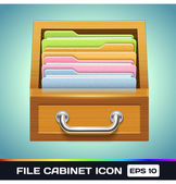 Vector File Cabinet with Folders Icon — Stock Vector
