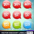 Stock Vector: Vector Discount Labels (Tags)