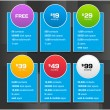 Stock Vector: Vector Pricing Tables with Minimalistic Design