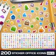 200 Universal Sticker Icons — Stock Vector