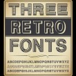 Stock Vector: Vector Set: Three Vintage Fonts