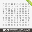 Stock Vector: 100 Universal Outline Icons For Web and Mobile