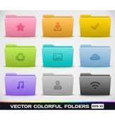 Vector Colorful Folders — Stock Vector