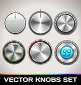 Vector Realistic Knobs Set — Stock Vector