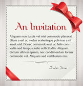 Vector Invitation With Red Bow And Ribbon — Stock Vector