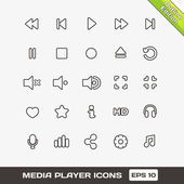 Media Player Outline Vector Icons Set — Stock Vector