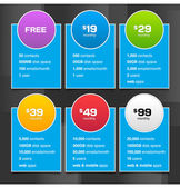 Vector Pricing Tables with Minimalistic Design — Stock Vector