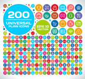 200 Universal Colorful Flat Icons — Stockvector