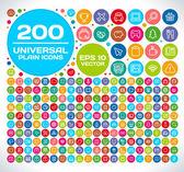 200 universella färgglada platt ikoner — Stockvektor