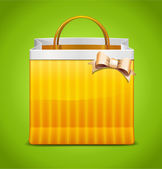 Shopping Bag Icon With Bow — Stock Vector