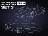 Sport car Silhouettes Set 3 — Stock Vector