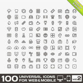 100 Universal Icons For Web and Mobile volume 2 — Stock Vector