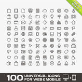 100 Universal Outline Icons For Web and Mobile — Vetorial Stock
