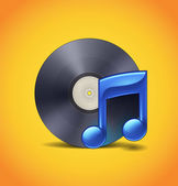 Ícone da música com vinil — Vetor de Stock