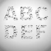 Realistic Water Drops Font from A to F — Stock Vector