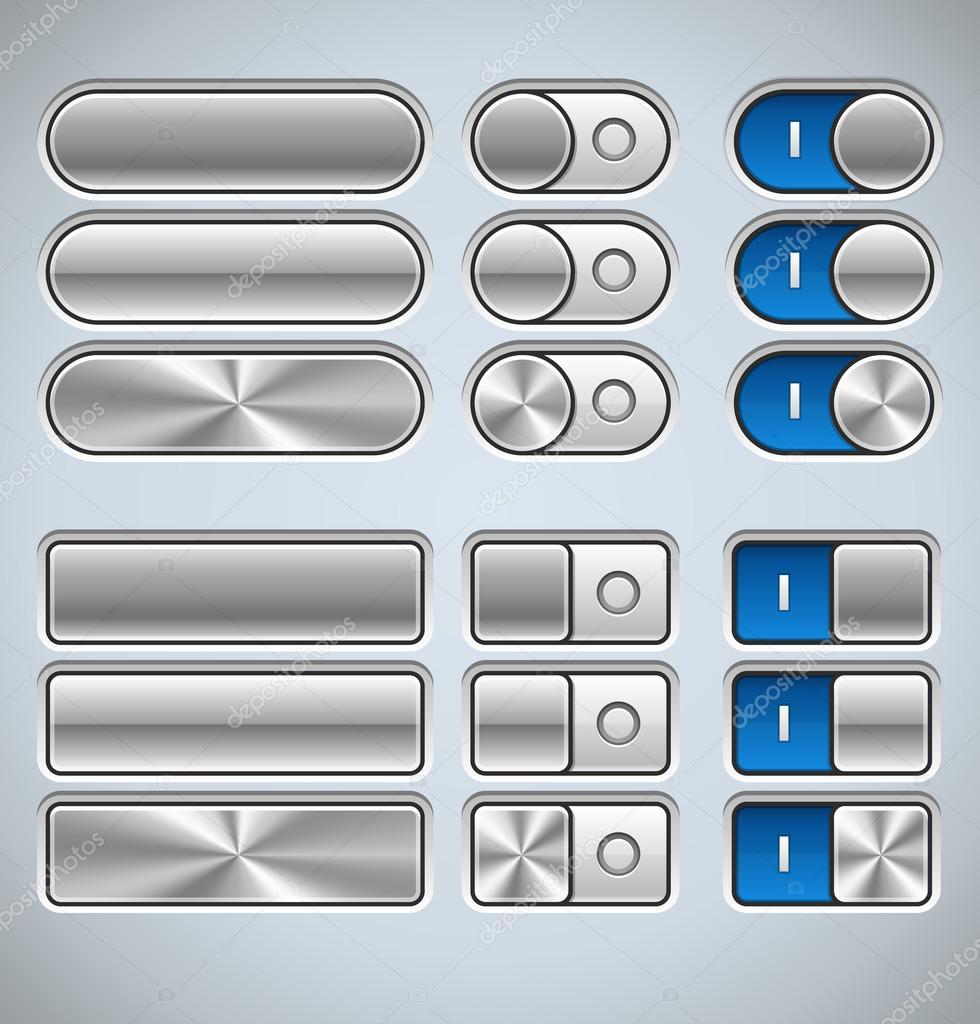 矢量金属界面元素针对 web 和移动