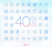40 Trendy Thin Icons for web and mobile Set 2 — Stock Vector