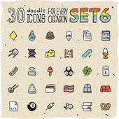 30 Colorful Doodle Icons Set — Stock Vector