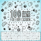 100 Colourfull doodle icons — Stock Vector