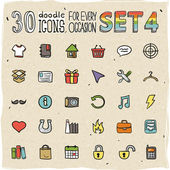 30 Colorful Doodle Icons — Stock Vector