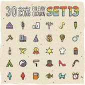 30 Colorful Doodle Icons Set 13 — Stock Vector