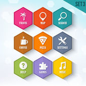 Trendy Vector Rounded Hexagon Icons Set 3 — Stock Vector