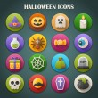 Round bright icons with long shadow - Halloween vector — Stock Vector