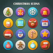 Round bright icons with long shadow - christmas vector — Stock Vector