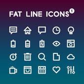 脂肪线矢量图标集 — 图库矢量图片