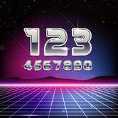 80s Retro Sci-Fi Digits — Vetorial Stock