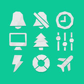 Paper Cut Icons for Web and Mobile Applications Set — Vettoriale Stock