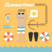 Summer Holiday Icons — Vettoriale Stock