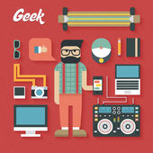 Trendy Geek Items — Stok Vektör