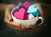 Hearts in hand — Stock Photo