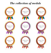 Collection of medals with striped ribbons — Stock Vector