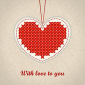 Valentine's red embroidered heart — Cтоковый вектор