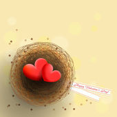 Valentine's hearts in nest — Stock Vector